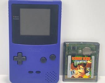 Nintendo Game Boy Color PURPLE Bundle Tested Works With Donkey Kong