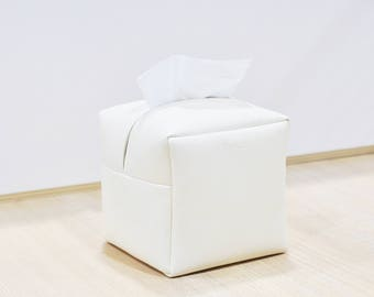 PU Leather Tissue Holder, Square Facial Tissue Box Cover, Toilet Paper Holder, Soft Touch, White