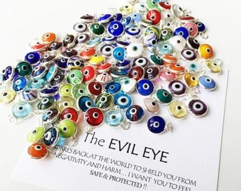 PROMO Evil eye charm, 25 pcs, Evil eye beads for connectors, evil eye connectors, evil eye pendant, glass evil eye charm, diy jewelry supply
