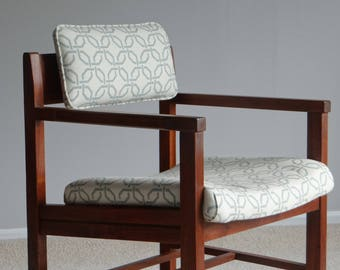 Vintage Walnut Accent Chair - New Upholstery
