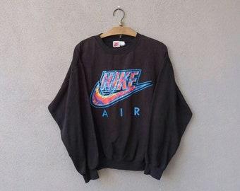Vintage 90s Nike Air Swoosh Big Logo Sweatshirt Pullover Men's Large