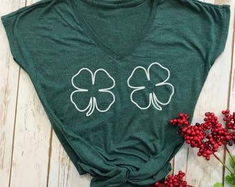 shamrock shirt- 4 leaf clover-  st patricks day shirt- funny st pattys day shirt- funny st patricks day shirt- funny drinking shirt-lucky