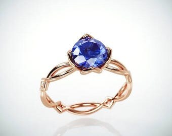SALE Christmas in July! 14K Rose Gold Blue Sapphire Engagement Ring  | 14k rose gold Natural Blue Sapphire and Diamonds engagement ring