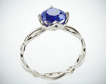SALE Christmas in July! 14K White Gold Blue Sapphire Engagement Ring  | 14k white gold Natural Blue Sapphire and Diamonds engagement ring