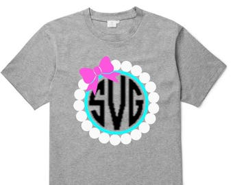 Pearls and Bow Monogram SVG, Preppy Monogram SVG, Cricut Silhouette