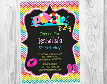 Pool Party Chalkboard Invitation - Swimming Birthday Party Invitation - Birthday Party Invite - Digital - Personalized Customized