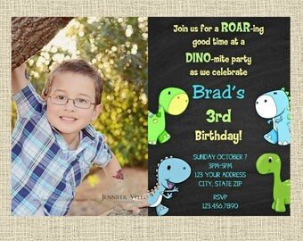 Dinosaur Chalkboard Invitation - Birthday Party Invitation - Birthday Party Invite - Digital Customized