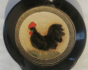 Rooster chicken stoneware pottery spoonrest soapdish