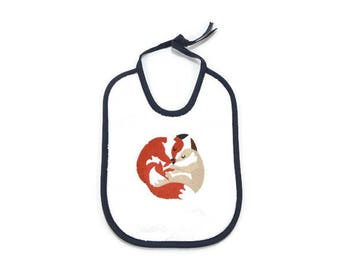 Embroidered baby bib small foxes, baby embroidery machine, cotton