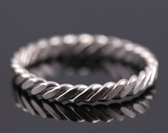 Flat Twisted Ring, Tiny Flat Silver Rope Ring, Silver Stacking Ring, Braided Sterling Ring, Silver Twist Ring, Thin Braided Silver Ring,gift