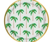 Palm Tree Plates,Beach Party Decor,Palm Trees,Tropical Party,Paper Plates,Tropical Party Decor,Beach Party Supplies,Hawaiian Plates