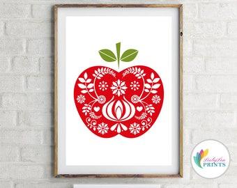 Apple Print - Scandinavian Design Apple - Mid-Century Design Kitchen Print, Retro Apple Print