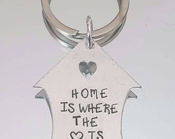 House shaped home is where the heart is keyring..Can be personalised