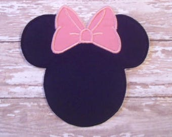 Minnie Mouse Applique - Pink Bow - Embroidered Applique - Iron On - Ready To Ship