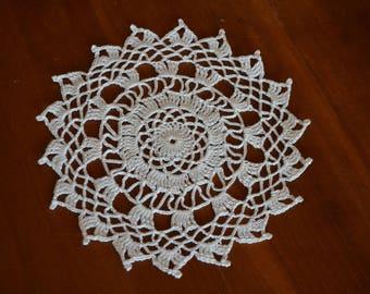 Handmade white doily, 17cm, round, crocheted with fine cotton
