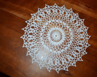 Handmade white doily, 25 cm round made with fine cotton crochet