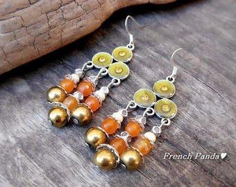 Pair of sterling silver enamel earrings, agate and Hematite.