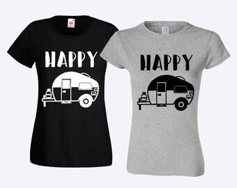 Happy camper women or mens T-shirt T-shirt