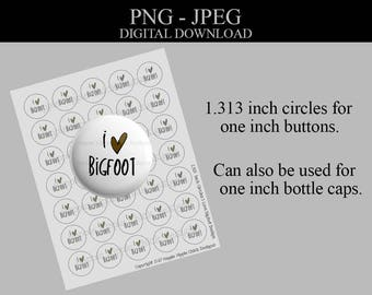 I Heart - Bigfoot - Commercial License - 1.313 Inch Circles - Bottlecap Images - Digital Collage Sheet - Printable Sheet - Button Supplies