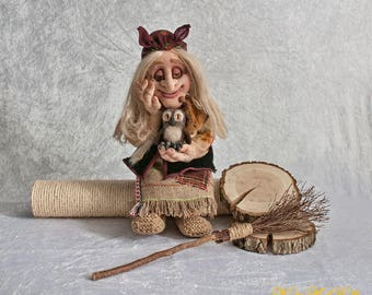 Unique Art Doll Baba Yaga, Interior Textile Doll Good Witch Character Doll OOAK Fabric Doll Stuffed Rag Doll Fairy White Witch, La Befana