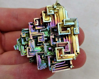 Rainbow Bismuth Crystal 73g Lab Grown Jewelry Display Specimen Educational Metaphysical Metal Healing Stone