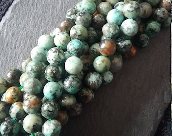 8mm Natural African Turquoise Undyed Round Beads Full 15 inch Strand