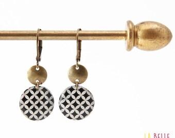 Small earrings ' sleepers earrings resin mosaic graphic pattern