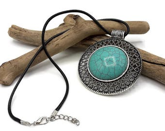 Large ethnic pendant Turquoise and antique silver - gift women - women necklace - B015