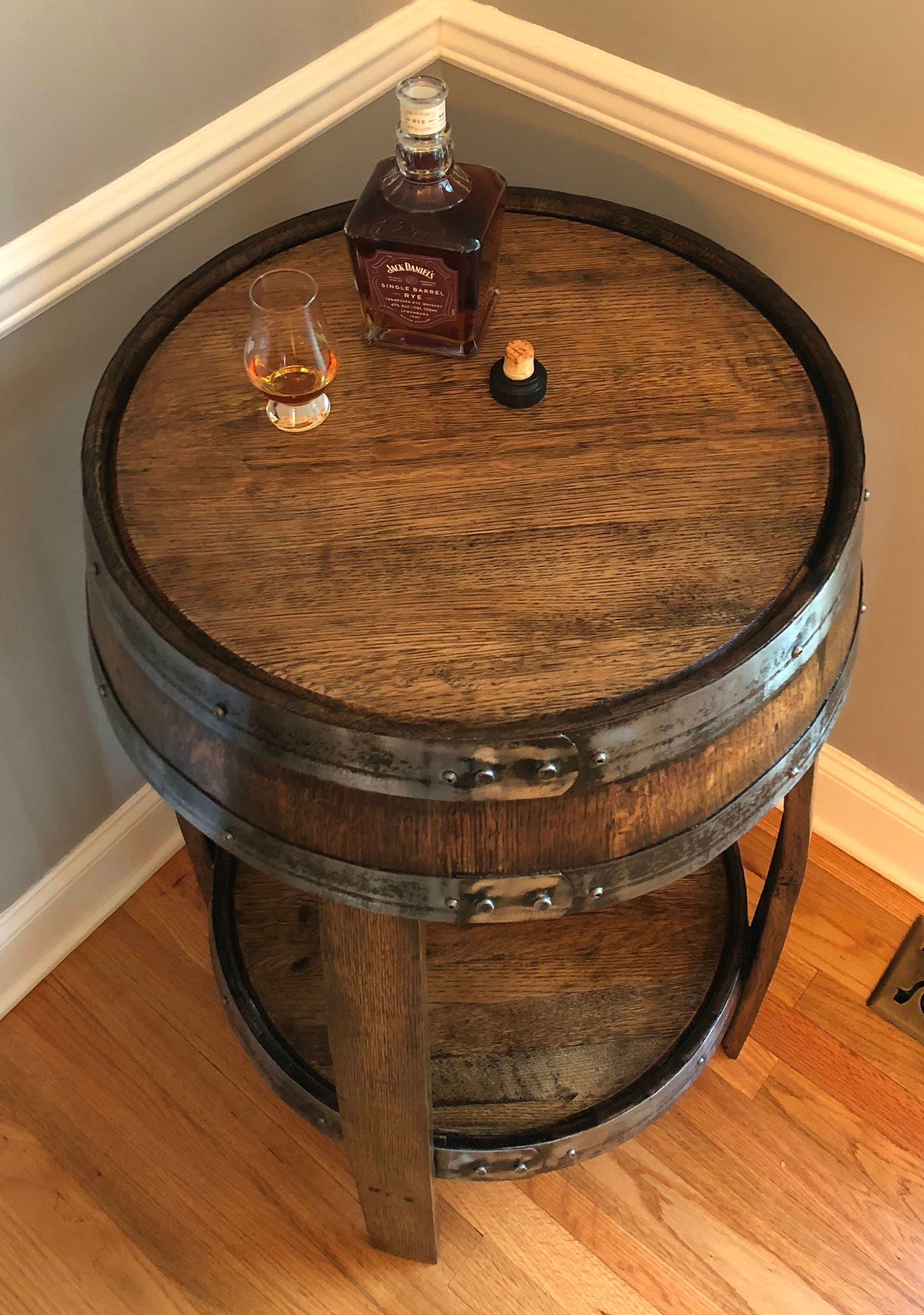 Whiskey barrel pub table handcrafted from a