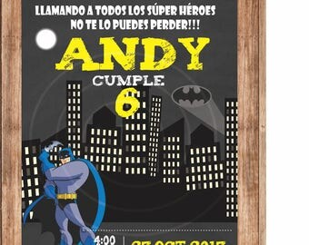 Birthday invitation Digital, print, Super Hero, Batman, bat girl