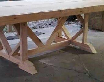 Unfinished Farmhouse Diamond Table