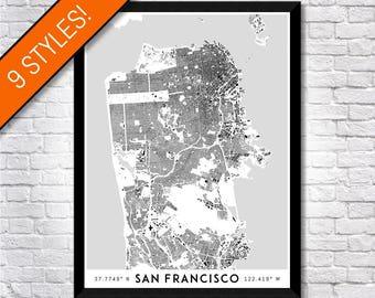 Buildings of San Francisco map art | Printable San Francisco map print, San Francisco print, San Francisco poster, San Francisco art map