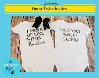 Twin Onesies, I Woke Up Like This, Boy Girl Twins, Twin Set, Twin Funny Onesie, Matching Onesies, Boy Girl Onesies, Twin Baby Shower Gift