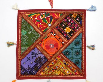 Handmade Hippie Gypsy Home Decor Ethnic Multi color Embroidered Hippy Patchwork Bohemian Pillow Shams Couch Cushion Cover Case G789