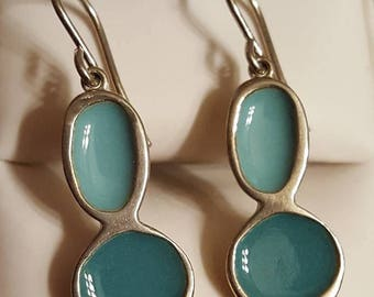 Vintage Sterling Silver Blue Enamel Earrings