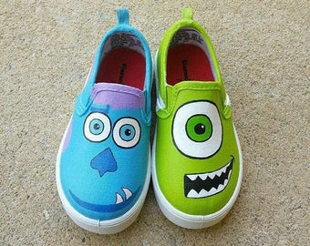 Monster Inc inspired special occasion Hand panted shoes