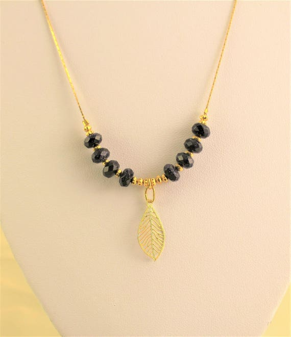 chic bohemian necklace with semi-precious stones and leaf pendant