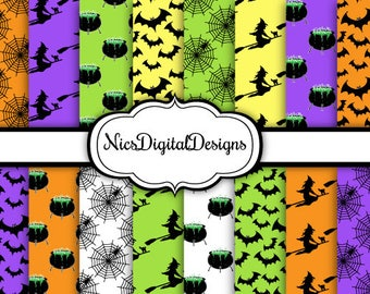 Buy 2 Get 1 Free-16 Digital Papers. Halloween Characters Pack 1 (1A no 7) for Personal Use and Small Commercial Use Scrapbooking