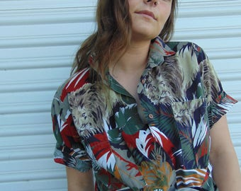 1980s JUST Christina Lion in the Jungle Button Up / 80s Tropical Blouse