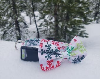 Colorful Snowflakes on White Dog Bow Tie - Christmas/Holiday/Winter Collection