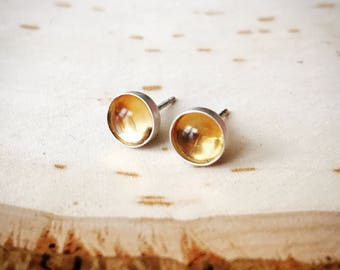 Tiny Citrine Stud Earrings // Birthstone Earrings // November Scorpio // Sterling Silver 14k Gold Fill Studs // 3mm 4mm 5mm 6mm