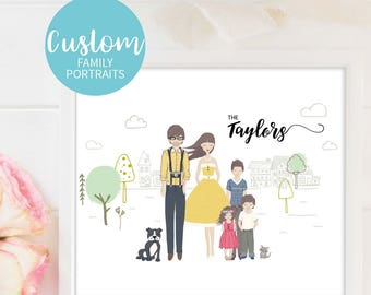 Personalised Portrait Custom Family Illustration Digital Custom Family Pic Family Portrait Custom Family Portrait Custom Family Art Print