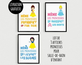 PROMO: Set of 3 Posters 21x30cm quotes Princess SDB1 - poster for child for bathroom decor frames
