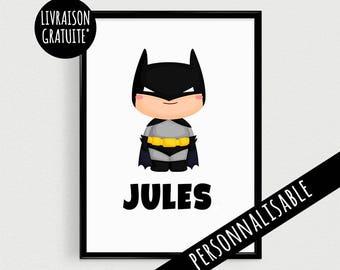 Superhero poster customized for kids - Scandinavian humorous superhero quote poster