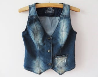 Fitted Women Denim Vest Elastic Denim Waistcoat Denim Jean Vest Western Style Vest Cowgirl Waistcoat Gift for Her Small Size Vest