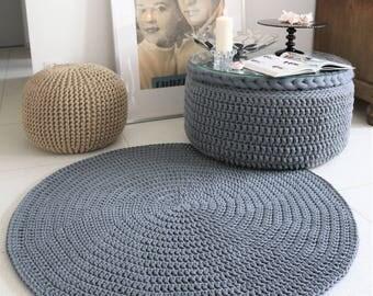 Modern Grey Metalic round rug Round area rug Nursery Rug Skandinavische Teppich rund alfombra trapillo modern enfant Large Crochet floor Rug