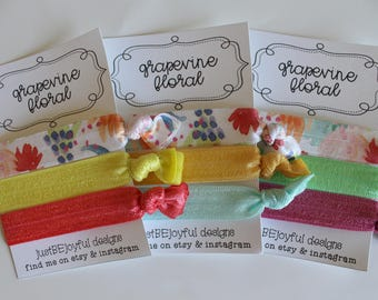Grapevine Floral - No Crease Hair Tie - Party Favors - Soft Hair Tie - Workout Hair Tie