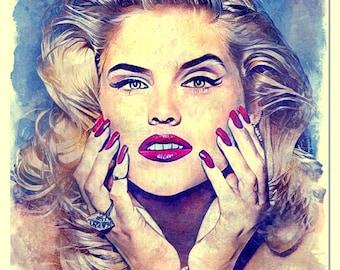 Anna Nicole Smith watercolor painting Art Print
