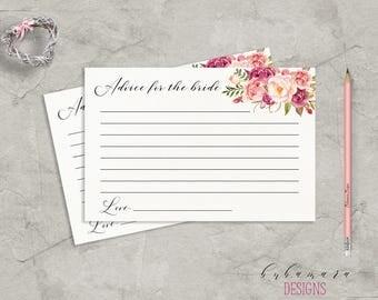 Floral Advice for Bride Bridal Shower Game Digital Download Bridal Trivia Pink Peonies Bohemian Printable Flowers Bridal Shower Quiz - BG014