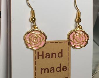 Gold & pink flower earrings
